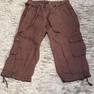 💋 3/$30 A.N.A linen cargo capris